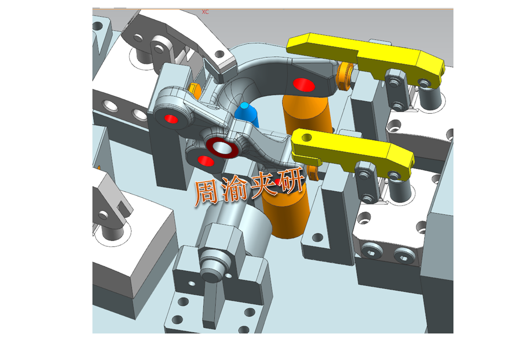 [夹研外包设计案例]异形件夹具案例分享  四轴夹具 液压夹具 第7张