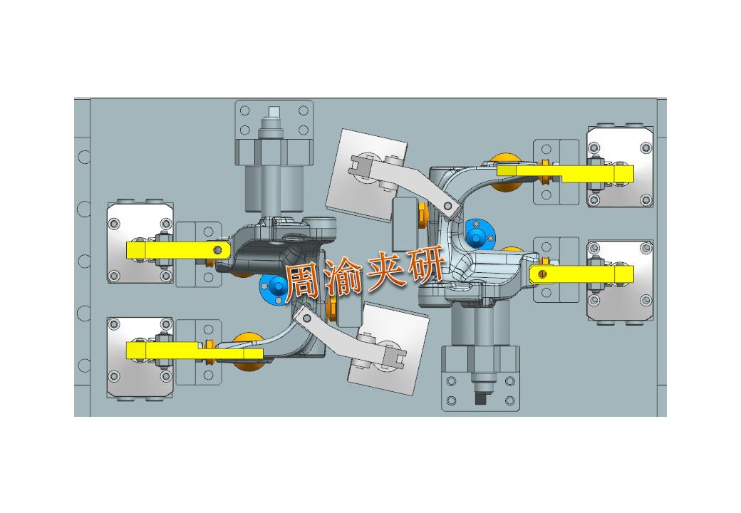 [夹研外包设计案例]异形件夹具案例分享  四轴夹具 液压夹具 第9张