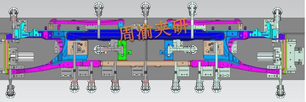 [夹研外包设计案例]壳体焊接夹具  焊接夹具 四轴焊接夹具 第8张